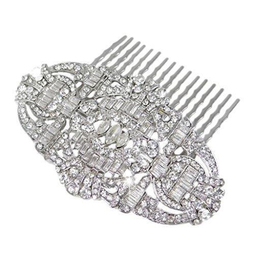 EVER FAITH Women's Austrian Crystal Bridal Art Deco Hair Side Comb Clear Silver-Tone