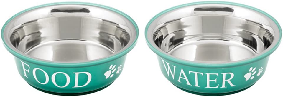 Buddy'S Line Non-Skid Stainless Steel Fusion Food/Water Serving Pet Bowl - Pack of 2