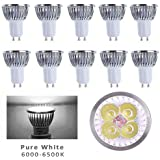 10pcs Pack 110V 4W GU10 LED Bulbs - 6000K Daylight Spotlight - 330 Lumen, 35Watt Equivalent - 45 Degree Beam Angle