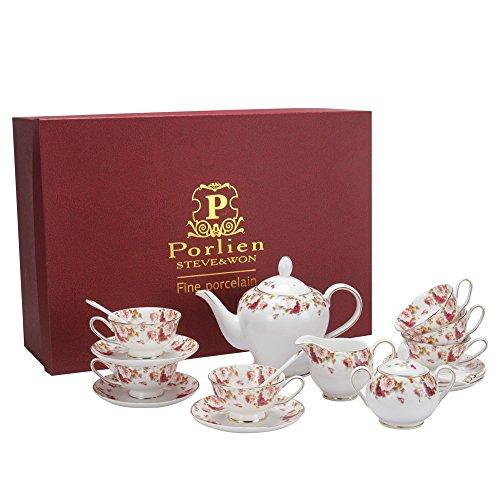 Porlien Tea Set, Red Camellia, Porcelain Teapot & Teacups Gift Set, Service for 6