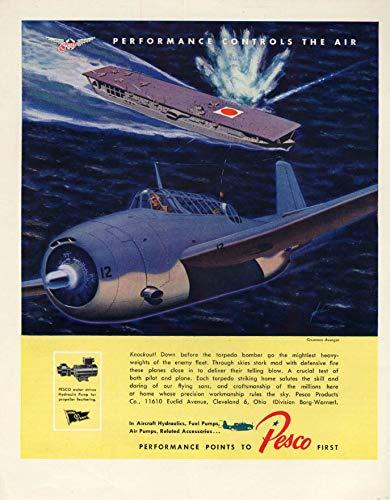 Grumman TBF Avenger torpedo bombs Jap aircraft carrier Pesco Aviation ad 1943 F ()