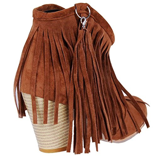 Vitalo Block Ankle High Heel Western Brown Ladies Cowboy Boots Womens Fringe Boots rEq6xzUrw