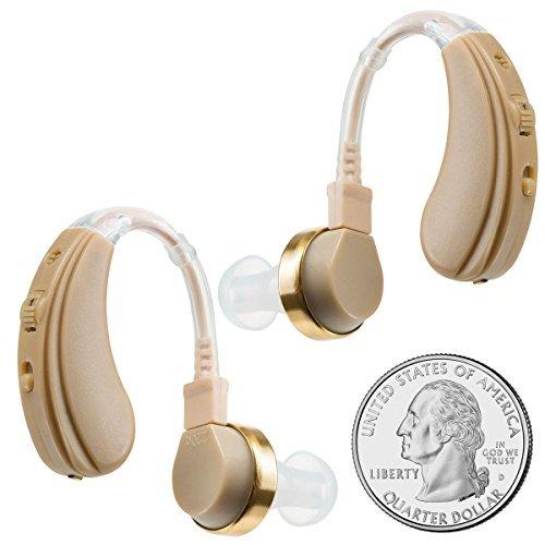 Amplificador auditivo digital NewEar, para detrás del oído, viene con cargador dual, para oídos izquierdo y derecho. Cargador de pared y USB. Seis tapones.