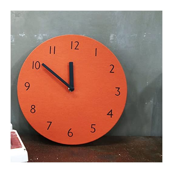 "THEHAKI Sandwich Clock 9"" Retro Color Silent Quartz Non-ticking Simple Light Colorful Wall Clock (Orange) - Material: Artificial Leather(PU), Paper, EVA Size:9.1""Dia x 0.8""Deep Very light(0.4lb) and safe sandwich style clock - wall-clocks, living-room-decor, living-room - 51iwHH0iy3L. SS570  -"