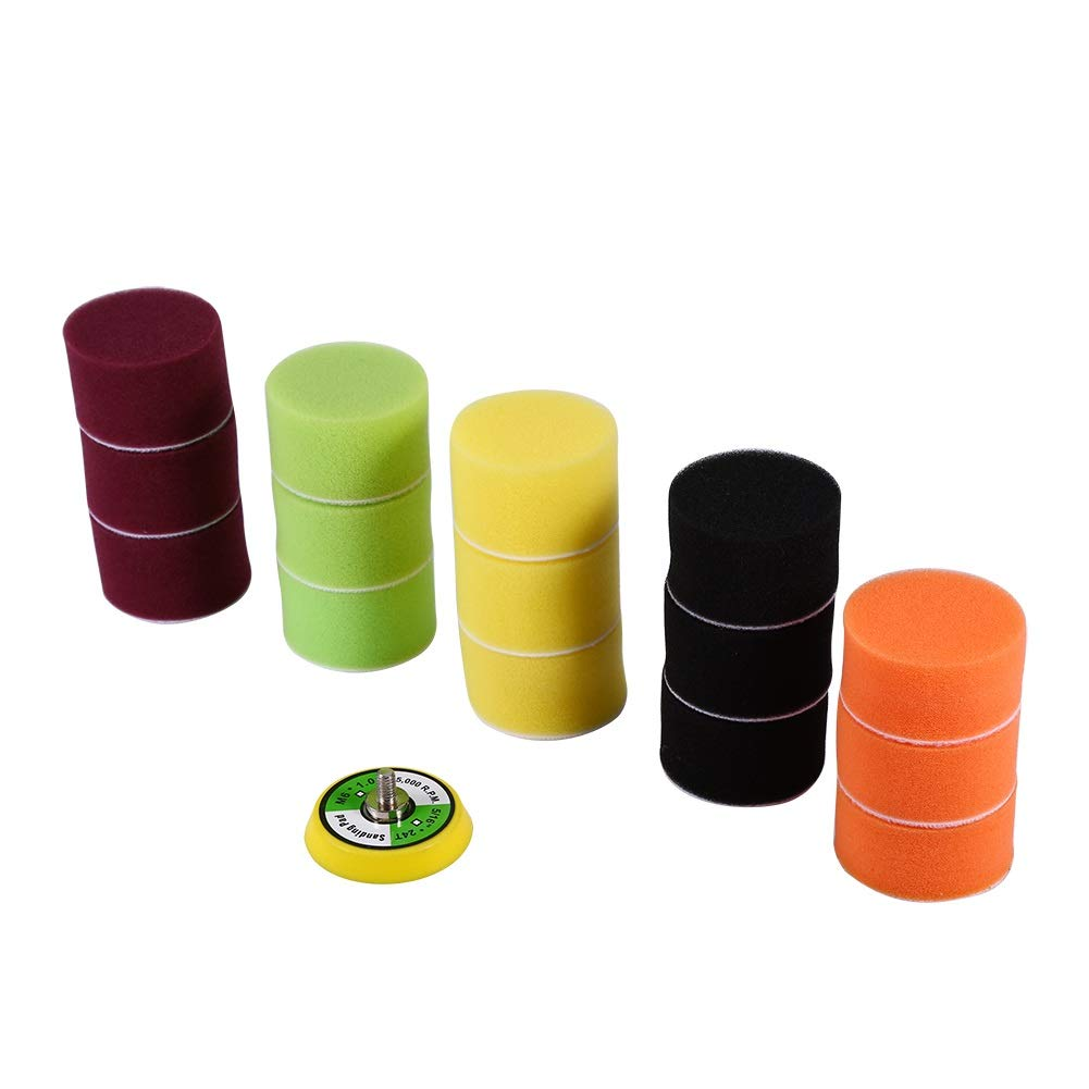 Tamponi per lucidatura auto - Set di tamponi in spugna per lucidatura piatti 2', per levigatrice pneumatica, lucidatrice per auto, filettatura M6X1, 16 pz Dewin