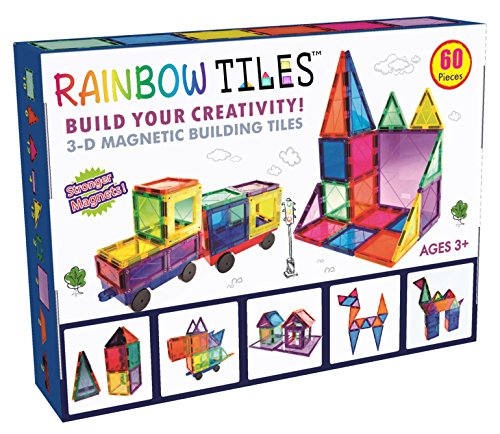 Rainbow Tiles 3D Magnetic Building Block Tiles - 60 Piece Set with 2 Cars and Idea Book - Clear Colorful and Diverse Shapes - Large Magnets for Construction - STEM Educational Toy for Toddlers or Kids (Block Puzzle Solution)