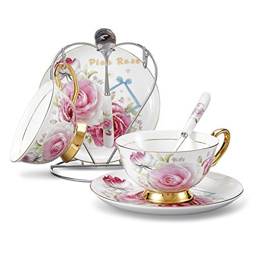 Panbado Bone China 7-Piece 6.8oz Cup and Saucer Set with Spoon and Iron Holder for Tea Coffee - Light Pink Rose