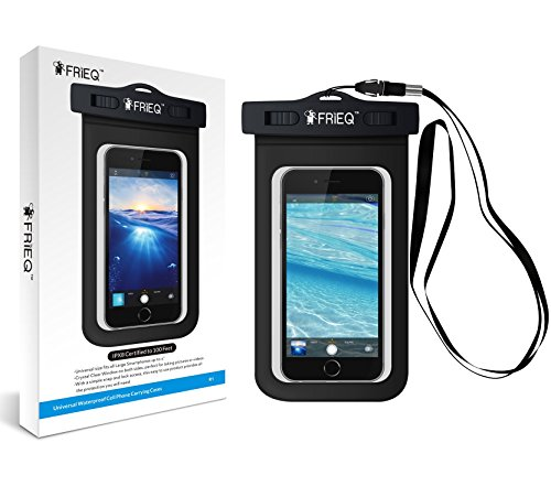 Price comparison product image FRiEQ Universal Waterproof Case for Outdoor Activities - Waterproof bag for Apple iPhone 7, 7 Plus, 6S, 6S Plus, 6, 6 Plus, 5S; Galaxy S6, S4; HTC One X, Galaxy Note 3, Note 2; LG G2 - IPX8 Certified to 100 Feet (Black)