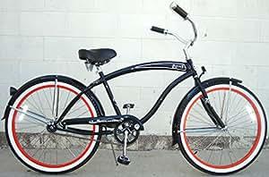 "Micargi Rover GX 1-speed for men (BLACK/RED), 26"" Beach Cruiser Bike Schwinn Nirve Firmstrong Style"