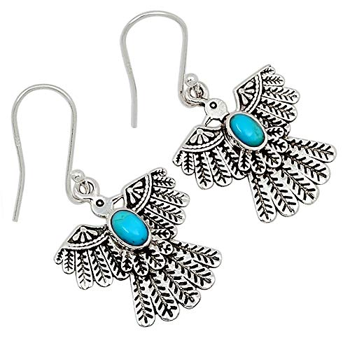 Xtremegems American Eagle - Stablized Blue Turquoise 925 Silver Earrings Jewelry 1 3/8