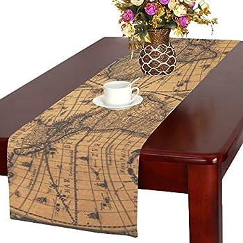 Wonderful ADEDIY Home Table Runner On The Equator World Map Table Runner 16x72 Inch  Custom Table Decor