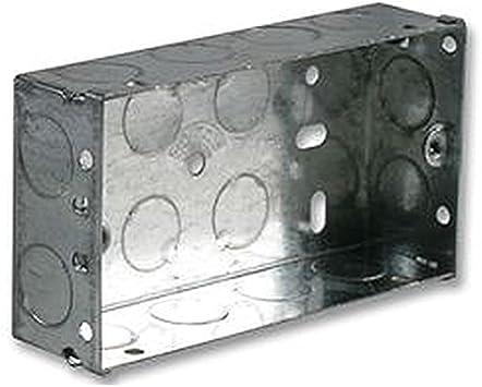Caja metálica 2 GANG 35 mm eléctrico cajas traseras/cajas de montaje: Amazon.es: Bricolaje y herramientas