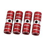uxcell® 4pcs 9mm Thread Diameter Red Cylinder Shaped Aluminum Alloy Bicycle Foot Pegs