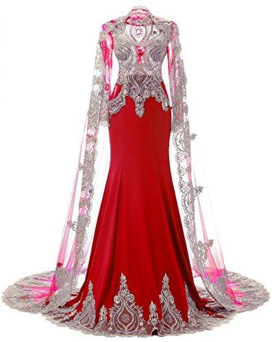 der Langarm Liebe K High Neck Schal Abendkleider Rot nig Mermaid Strass mit fAqwq5xS