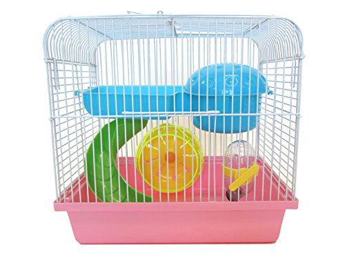 YML Travel Mice Dwarf Hamster Cage with Accessories, Small, Pink (Dwarf Hamster Cages Under $20)
