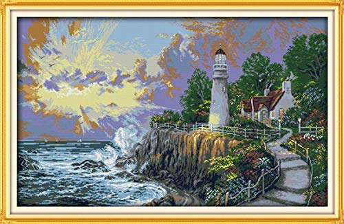 Zamtac Needlework Embroidery DIY Painting Cross Stitch Kits 14ct 11ct Lighthouse Series Landscape Cross-Stitch Sets for Embroidery - (Color: F650, Cross Stitch Fabric CT Number: 14CT Stamped Product)