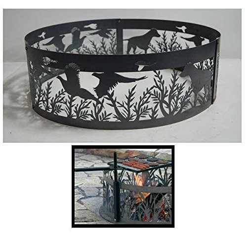 - PD Metals Steel Campfire Fire Ring Dog N' Pheasants Design - Unpainted - with Cooking Grill - Extra Large 60 d x 12 h Plus Free eGuide