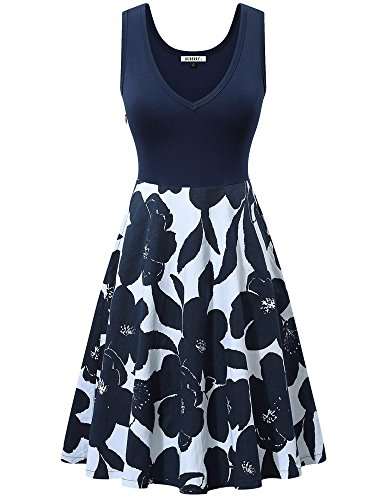 Blue Floral Pocket Neck Womens V Dress GUBERRY Midi Navy Sleeveless A Tank Line Cocktail with Aqpw51Cx6