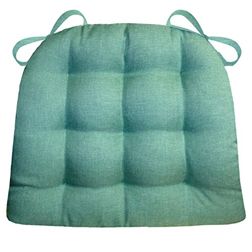 Barnett Products Dining Chair Pad with Ties - Hayden Turquoise Heathered Plain Weave - Extra-Large - Reversible, Latex Foam Fill, Machine Washable (Teal, Aqua) (Seat Breakfast Cushions Nook)