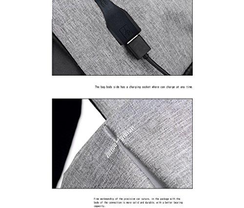 ZYXCC Männer und Frauen reisen Rucksack Frühjahr und Sommer multifunktionale USB-Lade-Anti-Diebstahl-Tasche Laptop Business-Rucksack (schwarz grau lila blau und grün) Black mpaeUD