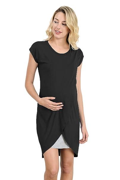 eca48ec7b2c9a Hello MIZ Color Block Asymmetrical Maternity Breastfeeing Nursing Dress  (Small, Black/Grey)