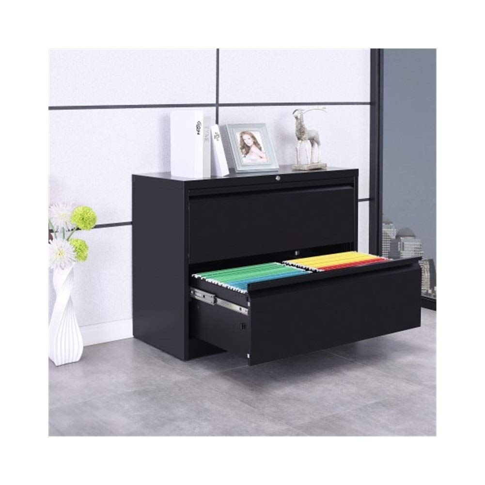 YXHUI Side File Cabinet 2 Drawers with Lock and Key (Black) Good Mood, Good Life