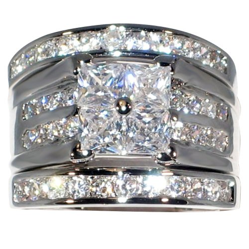 Contemporary 2.46 Ct. Cubic Zirconia Cz 3 Pc. Engagement Bridal Wedding Ring Set (10) (3 Set Engagement Ring)