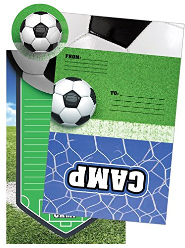 iscream Soccer Camp Pack of 8 Fold-over Cards with Flip Sticker Seals - Fold Over Stationery