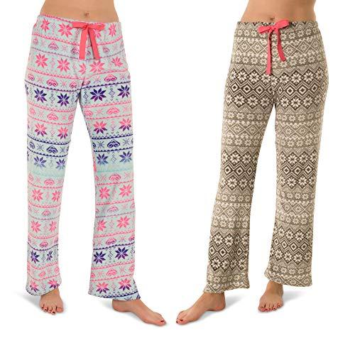 Pink Cozy Pajamas - Totally Pink Woman's Warm and Cozy Plush Pajama Bottoms/Lounge Pants Two Pack (Medium,Fair Isle/Snowflake)