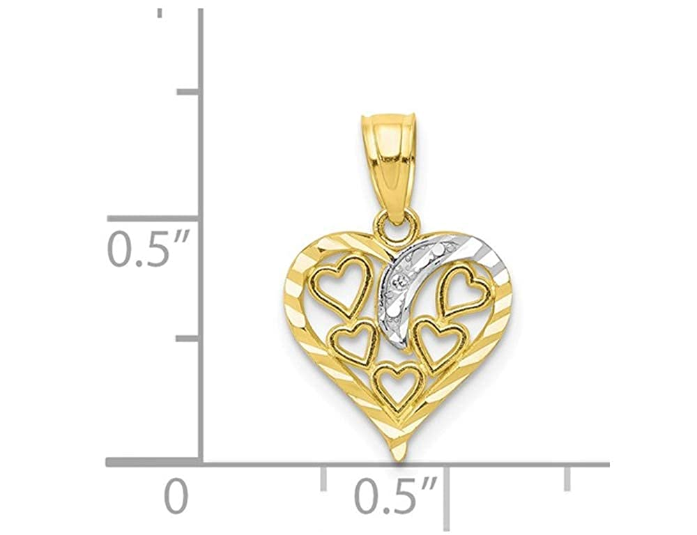 10K Yellow Gold Heart Pendant Necklace with Chain