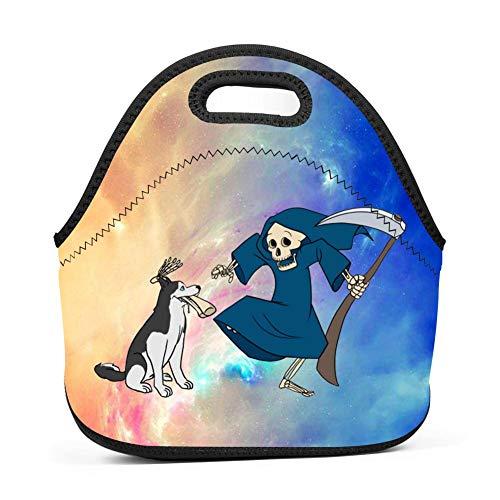 BETOCI Funny Husky Grim Reaper Bone Leg Halloween Insulated Lunch Bag Neoprene Tote Lunch Box Reusable Picnic Handbag for Women Boys Girls and Men -