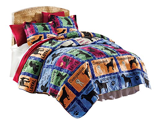 The Paragon Life is Better Full/Queen Quilt Set - Colorful Microfiber Coverlet, Bright Color Block Design, Cozy Quilted Fabric, Gift for Dog Pet Lovers Dog Quilt