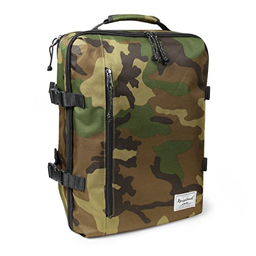 Rangeland Travel Backpack New 2018 21L Carry-on Daypack Fits 15-inch Laptop Notebook and Travel Accessories – Meets IATA Flight Standards, Green Camo ()
