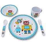 Culina Kids Plate and Bowl Melamine Dinnerware- Robot. Set of 5