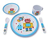 Culina® Kids Plate and Bowl Melamine Dinnerware- Robot. Set of 5