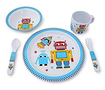 Culina Kids Melamine Dinnerware - Robot. Set of 5  sc 1 st  Amazon.com & Amazon.com: Culina Kids Melamine Dinnerware - Robot. Set of 5: Baby