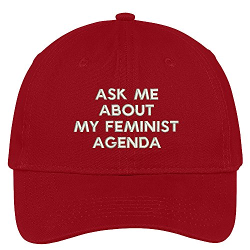 Red Brushed Cotton Cap (Trendy Apparel Shop Ask Me About My Feminist Agenda Embroidered Soft Brushed Cotton Cap - Red)