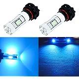 Alla Lighting 3200 Lumens Newest 2504 PSX24W LED Fog Light Bulb High Power 3030 27-SMD Extremely Super Bright LED PSX24W Bulb for 12276 2504 PSX24W LED Bulbs Fog Light, 8000K Ice Blue (Set of 2)