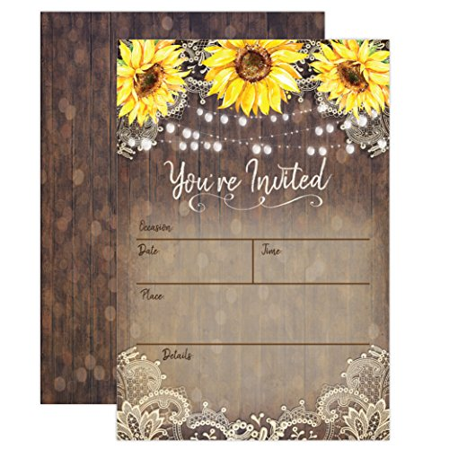 Country Lace and Sunflower Invitations, Rustic Elegant invites for Wedding Rehearsal Dinner, Bridal Shower, Engagement, Birthday, Bachelorette Party, Baby Shower, Reception, Anniversary, Housewarming -
