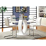Furniture of America Hugo Counter Height Round Dining Table in White For Sale