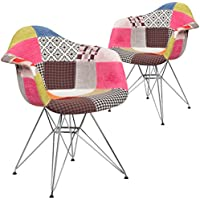 Flash Furniture 2 Pk. Alonza Series Milan Patchwork Fabric Chair with Chrome Base