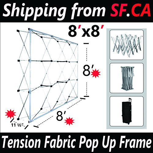 8x8ft Tension Fabric Straight Pop Up Display Trade Show Backdrop Booth - Display Fabric Tension 10'