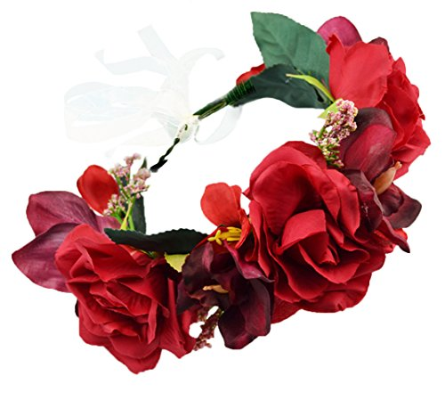 Vivivalue Flower Wreath Headband Crown Floral Garland Boho for Festival Wedding Red