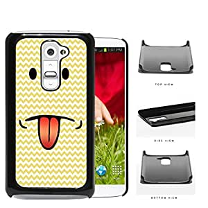 Emoji Smiley Face With Tongue Out Yellow Chevron Hard Plastic Snap On Cell Phone Case LG G2