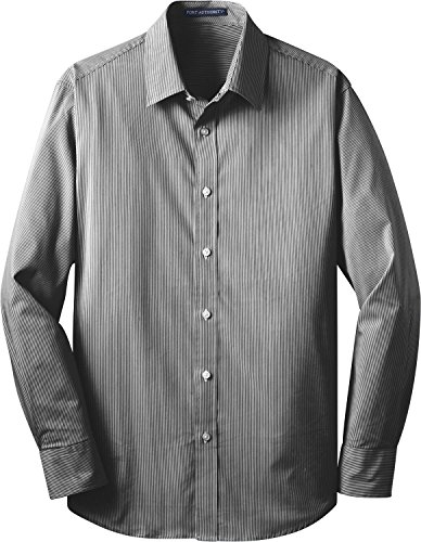 Port Authority   Fine Stripe Stretch Poplin Shirt 4Xl  Black White