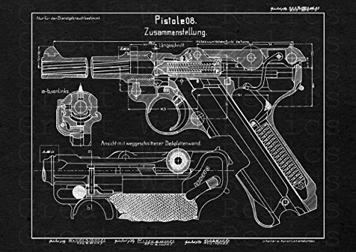 UpCrafts Studio Design P08 Luger German Pistol Blueprint - P-08 Luger 9mm Gun Patent Print (11.7x16.5, Black) ()