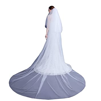 Handmade Two Tier Cathedral Long Soft tulle Lace Bridal Accessories Veils