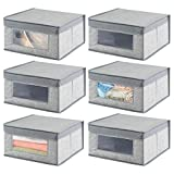 mDesign Soft Stackable Fabric Closet Storage Organizer Holder Bin with Clear Window, Attached Hinged Lid - for Bedroom, Hallway, Entryway, Bathroom - Textured Pattern - Medium, 6 Pack - Gray