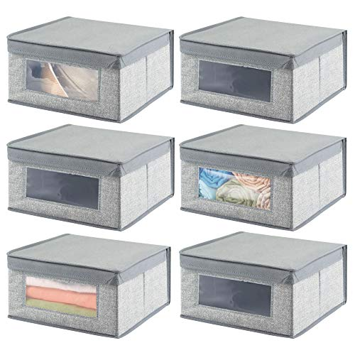 le Fabric Closet Storage Organizer Holder Bin with Clear Window, Attached Hinged Lid - for Bedroom, Hallway, Entryway, Bathroom - Textured Print - Medium, 6 Pack - Gray ()