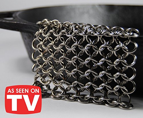 Knapp Made CM Scrubber - Stainless Steel Chain Mail Scrubber for Cast Iron (Enameled Cast Iron Cookware Cleaner)